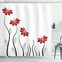 Ambesonne Flower Shower Curtain, Floral Petals with Striped Leaves and Lines Modern Style Geometrical Design Print, Cloth Fabric Bathroom Decor Set with Hooks, 70