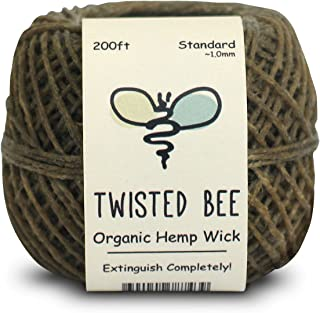Twisted Bee 100% Organic Hemp Wick with Natural Beeswax Coating (200ft x Standard Size)