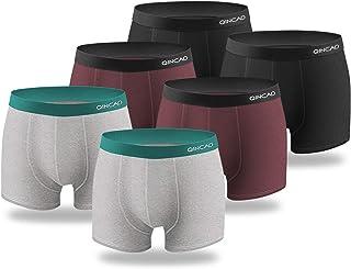 QINCAO Boxer Uomo Cotone Pacco da 6 Mutande Uomo Boxer Aderenti Shorts Intimo Slip S, M, L,XL, XXL, XXXL