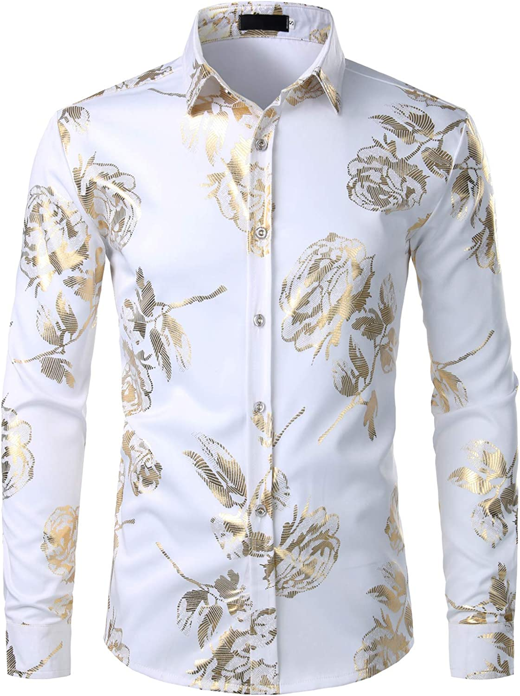 ZEROYAA Mens Geek 3D Golden Rose Printed Party Shirt Slim Fit Button Down Floral Dress Shirts ZZCL29 White Small