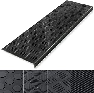 Indoor & Outdoor Bullnose Rubber Non-Slip Stair Treads, 26