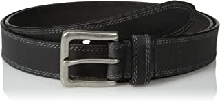 Men's Big and Tall Classic Leather Jean Belt 1.4 Inches Wide (Big & Tall Sizes Available), Black...