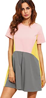 Women's Cute Short Sleeve Pockets Color Block Casual Swing Tunic Dress
