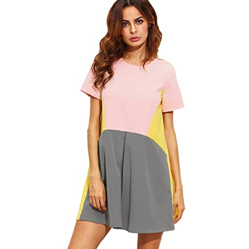 ca3d8153a7 SheIn Women's Cute Short Sleeve Pockets Color Block Casual Swing Tunic Dress