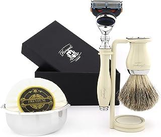 Zestaw do golenia w kolorze kości słoniowej dla mężczyzn z luksusowym 5-krawędziowym kompatybilnym z kasetą do golenia, sz...