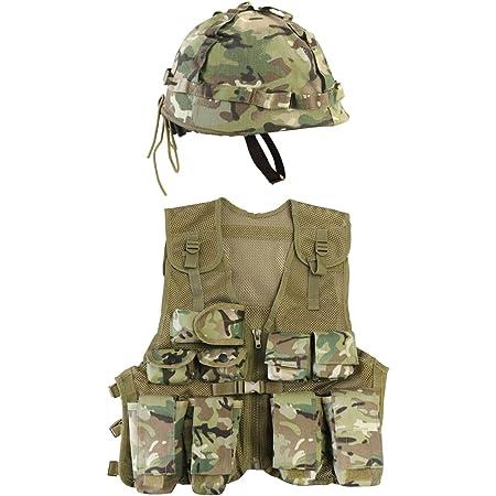 Kombat UK Kid's BTP Assault Vest + Helmet Set, British Terrain Pattern, One Size