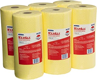 WypAll Colour Coded Wiper Rolls,  Yellow,  106 Wipers/Roll,  Case of 6 Rolls