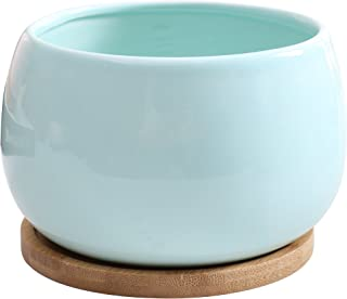 Jusalpha Ceramic Large Succulent Cactus Plant Pot with Bamboo Tray, Planter07 (Blue)