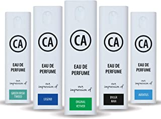 CA Perfume Niche Men Set Impression of ( Aventus + Green Irish Tweed + Original Vetiver + Legend + Bvl. Man ) Fragrance Sample Travel Size Parfum Sprayer ( 0.3 Fl Oz/10 ml) x5