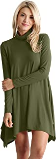 High Low Long Sleeve Turtleneck Swing Dresses for Women Plus Size and Reg. - Made in USA
