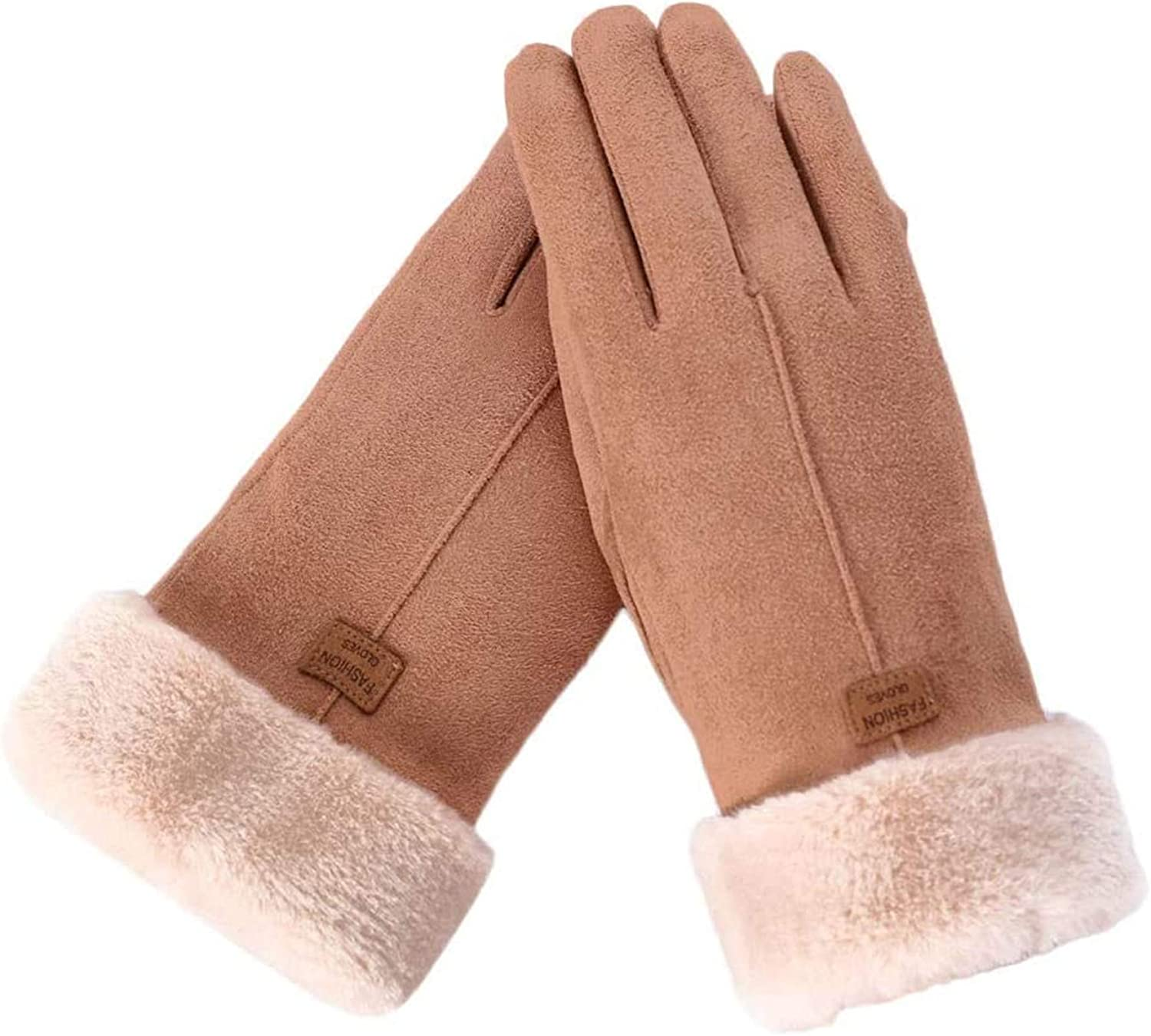 Women Gloves Winter Soft Suede Warm Plush Lined Touchscreen Comfortable Thermal Elastic