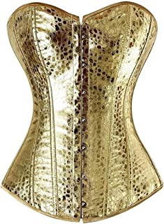 Faux Leather Overbust Corset Lace up Boned Top Bustier Clubwear Zipper Costume (Color : Gold, Size : Large)
