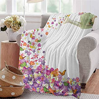 Luoiaax Floral Children's Blanket Butterflies Narcissus Flowers Violets and Pansies Pouring Out from Old Watering Can Lightweight Soft Warm and Comfortable W70 x L90 Inch Multicolor