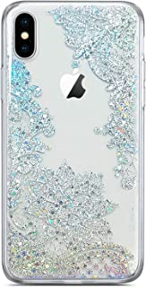 Coolwee Clear Glitter for iPhone Xs Case iPhone X Thin Flower Slim Cute Crystal Lace Bling Shiny Women Girls Floral Plastic Hard Back Case Soft TPU Protective Cover for Apple iPhone Xs Mandala Henna