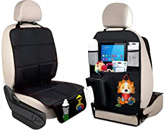 Car Seat Protector & Baby Child Pets Car Backseat Organizer Kick Mat with Storage Pockets for iPad and Tablet Holder Travel Accessories Organizer Dog mats