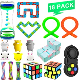Fidget Sensory Toys Bundle Increase Focus Relieves Stress Toy Set,Liquid Motion Timer,Fidget Chain/Rings,Wacky Tracks Snap,Monkey Stringy Balls for ADHD Autism Stress Anxiety Relief Adult Kids