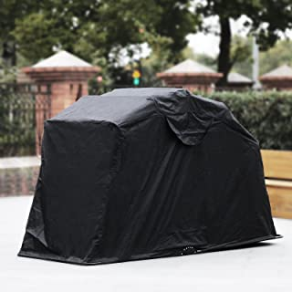 Happybuy Motorcycle Shelter Storage Waterproof Motorbike Storage Tent Oxford 600D Motorcycle Shelter Shed Fit Most Motorcycles (Black)