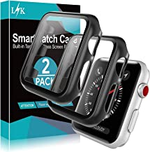 [2 Pack] LϟK Case for Apple Watch 42mm Series 3/2/1 Built-in Tempered Glass Screen Protector, All-Around Ultra-Thin Bumper...