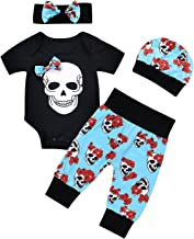 4pcs Newborn Baby Boys Girls Skull Romper+Pants+Hat+Mitten Halloween Outfit Set