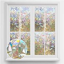 rabbitgoo Window Privacy Film, Rainbow Window Clings, 3D Decorative Window Vinyl, Stained Glass Window Decals, Static Clin...