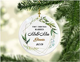First Christmas Together 2019 Ornament Mr & Mrs Davis Wedding Gift 1st Holiday Married Couple Present Christmas Ornament Tree Anniversary Gifts Husband Wife - Ceramic 3 Inches White