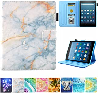 Amazon Kindle fire HD 8 Case, JZCreater Slim Leather Standing Case Cover with Auto Wake/Sleep for Amazon Fire HD 8 Tablet (2018 2017 and 2016 Release, 8th/7th/6th Gen),Not Fit HD 8 2020, Marble00