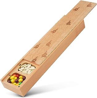 Jumbo Wooden Pill Box, Honey Bees Pattern, Solid Wood Masterpiece Laser Gift Idea for Xmas Birthday Natural Wood Pill, Med...