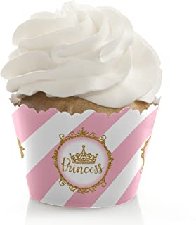 Little Princess Crown - Pink and Gold Princess Baby Shower or Birthday Party Decorations - Party Cupcake Wrappers - Set of 12