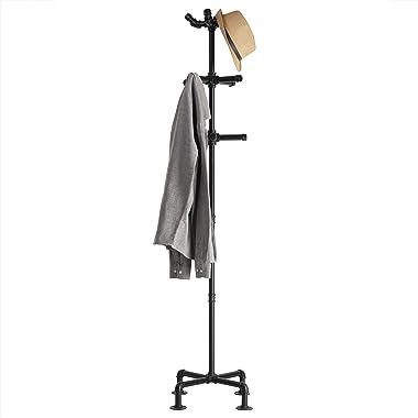 MyGift 65-Inch Industrial Black Metal Pipe 12-Hook Coat Stand