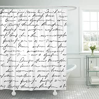 Emvency Shower Curtain Old Pattern Imitation of Abstract Vintage Lettering Unreadable Text Waterproof Polyester Fabric 60 x 72 inches Set with Hooks