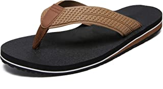 MATRIP Men's Comfort Lightweight Rubber Wide Flip Flops,Soft Cushion Non Slip Thong Sandals with Arch Support Size:7-13