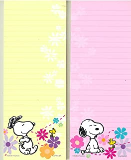 Peanuts Worldwide Spring Flowers Snoopy and Woodstock Lined Magnetic Notepads Shopping List, 2-Pack (Pink/Yellow)