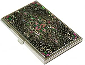 Mother of Pearl Arabesque Design Metal Stainless Steel Business Credit Name Id Card Holder Case Organizer Wallet