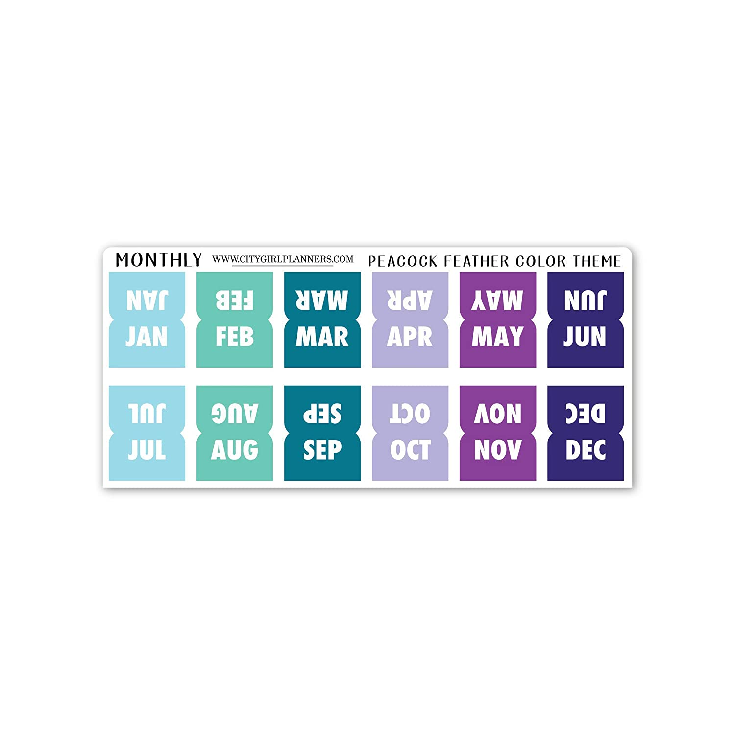 Mini Planner Tabs Max 52% OFF 12 Monthly color Feather Peacock stickers Bombing new work th
