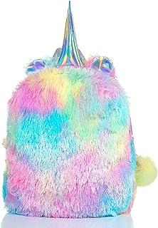Mumoo Bear Fluffy Unicorn Backpack, Mumoo Bear Cute Plush Unicorn Backpack,Fluffy Mini Unicorn Backpack Bags for Girls Kid...