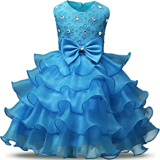 a0c0020000 NNJXD Girl Dress Kids Ruffles Lace Party Wedding Dresses