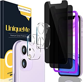 [2+2 Pack] UniqueMe Compatible for iPhone 11 6.1 inch Anti Spy Privacy Screen Protector and Camera Lens Protector Compatib...