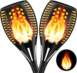 2PCs Solar Torch Lights Outdoor, 12.6 inches 96 LED, Waterproof Landscape Garden Pathway Light with Vivid Dancing Flickeri...