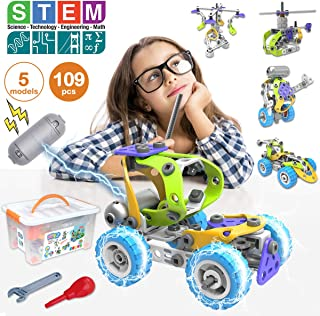 Pakoo STEM Toys Kit 5 in 1 Motorized Educational Construction Engineering Building Blocks Toys Set for 6 7 8 9 10+ Year Old Boys & Girls | Best Birthday Christmas Toy Gifts for Kids