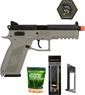 Airsoft Pistol ASG CZ P-09 Suppressor Ready CO2 Airsoft GBB Pistol with ASG 0.25G Blaster BBS 3000CT, Magazine, Patch and Speedloader