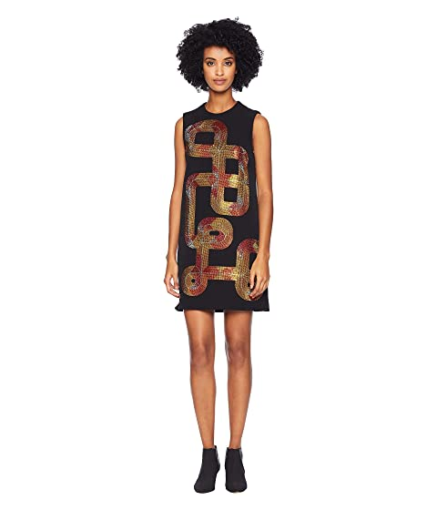Versace Collection Sequin Swirl Sleeveless Dress