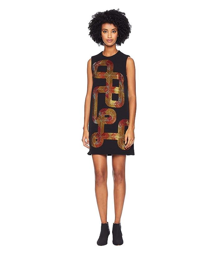 Versace Collection Sequin Swirl Sleeveless Dress (Nero) Women
