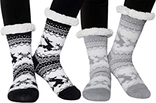 2 Pack Womens Slipper Socks Winter Warm Cozy Fuzzy Fleece Lined Thermal Knit Christmas Gift Non Slip Socks with Grippers
