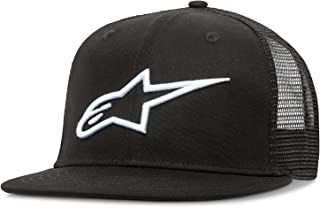 Alpinestars Men's Bill Trucker Snap Back Flat Embroidered Logo Flexfit Hat, Corp Black, One Size
