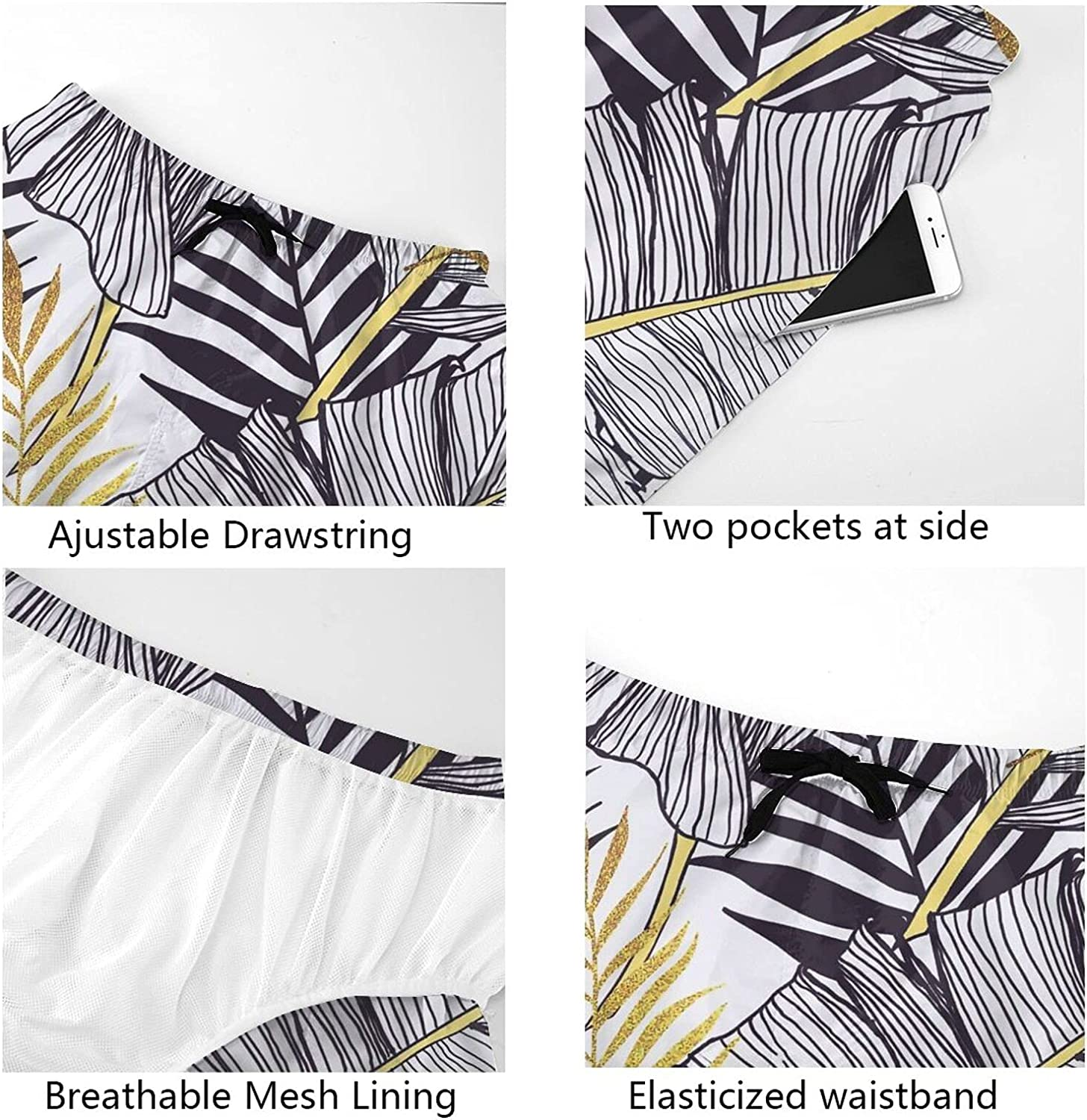 Mens Bathing Suits Floral Gold Black Leaves Swim Short Boardshort Quick Dry Cool Summer Beach Shorts with Liner