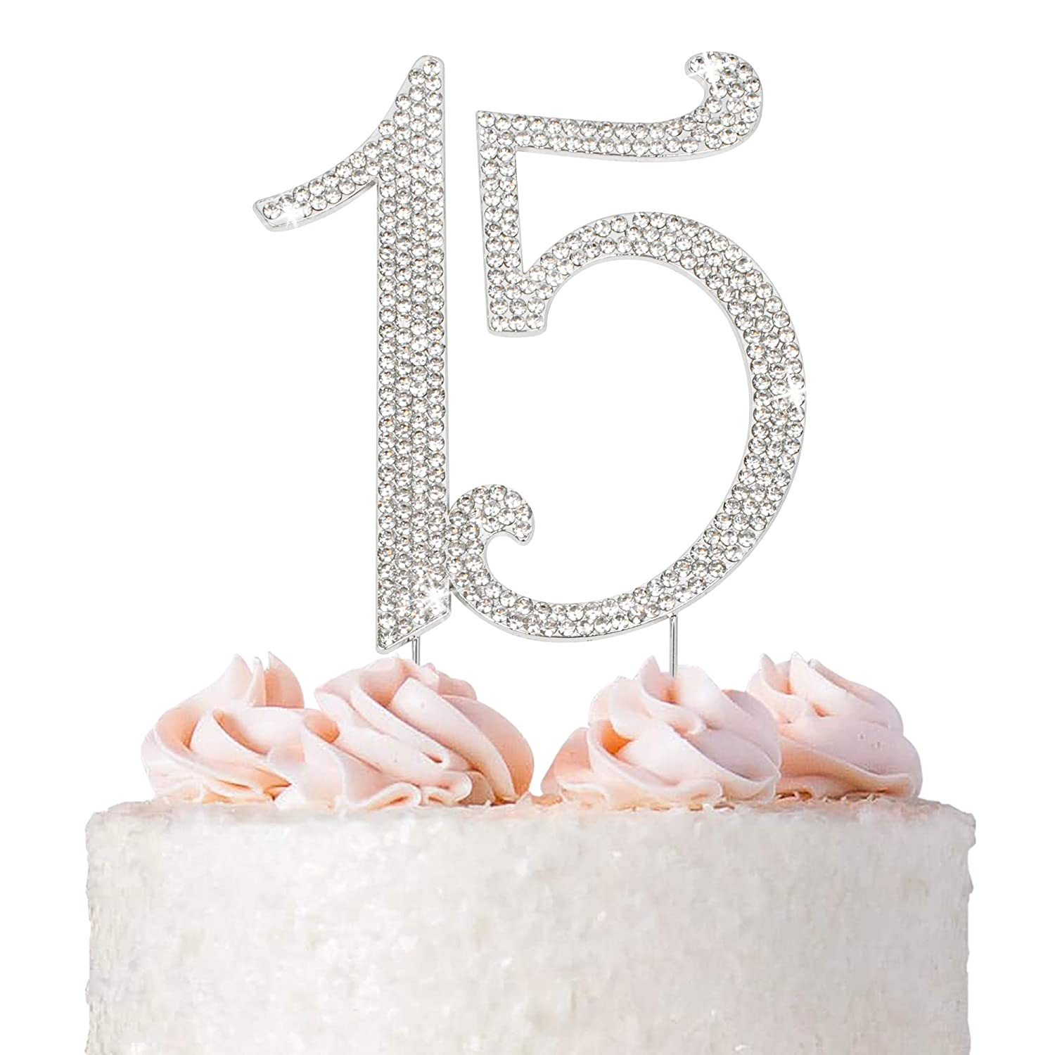 15 Cake Topper Quality inspection - Premium Silver Metal or Anniver Ranking TOP13 Birthday 15th
