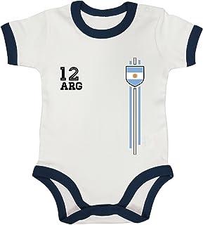 ShirtStreet Argentinia Soccer World Cup Fussball WM Fanfest Gruppen Ringer Strampler Baumwoll Baby Body kurzarm Jungen Mädchen Streifen Trikot Argentinien