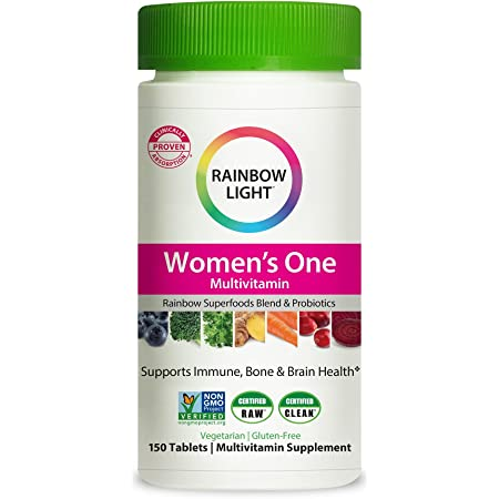 Rainbow Light Women's One Daily High Potency Multivitamin for Immune Support with Vitamin C, D & Zinc, 150 Tablets, Non-GMO, Vegetarian & Gluten Free, 5 Month Supply