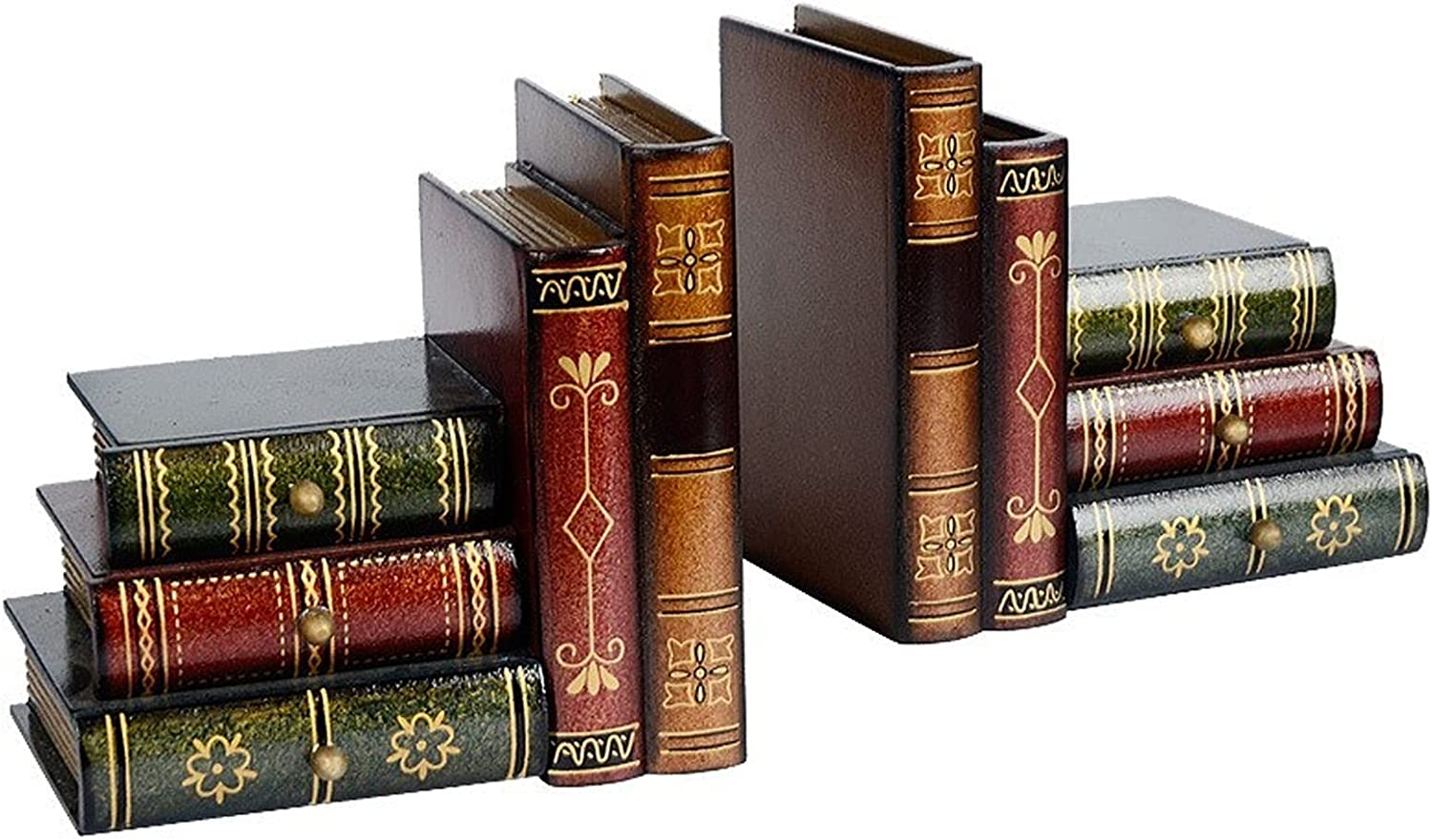 ZXNRTU Vintage Decorative Bookend Stacked Max 78% OFF Bookends Books unisex Wood D