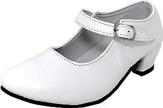 Flamenquitass Flamenco-Schuhe, Tanzschuhe, sevillanisches Design, für Damen/Kinder, Schwarz/Weiß